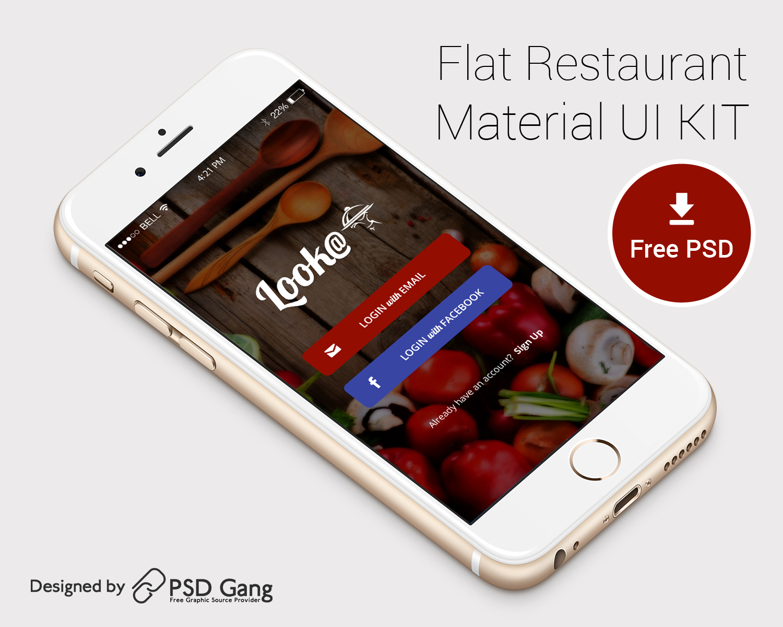 Flat Restaurant Login Mobile UI for iPhone6