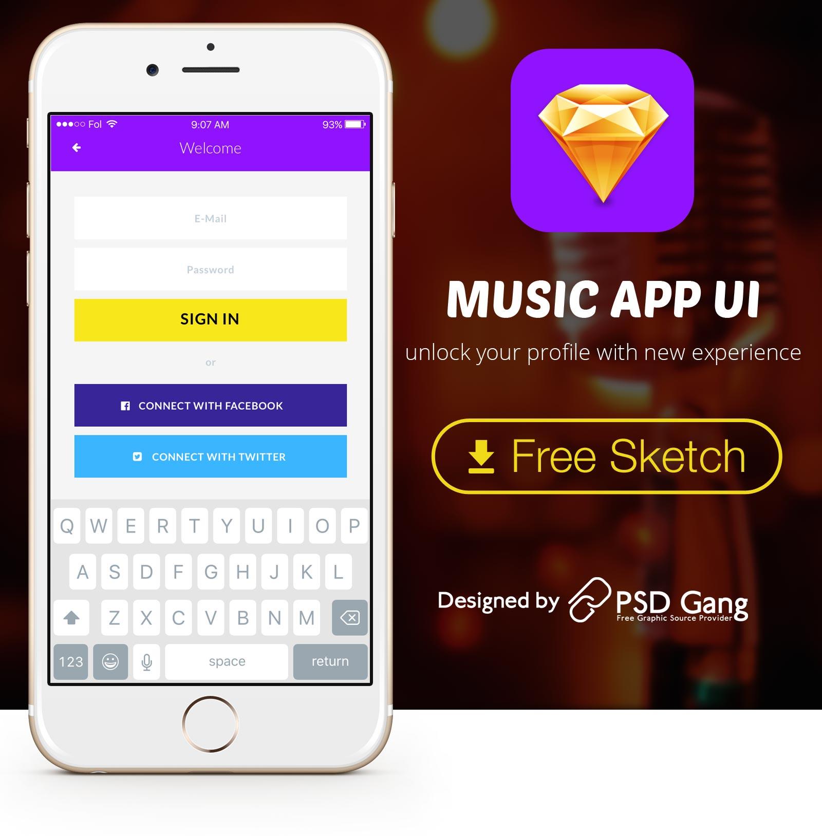 New Music App UI for Sketch Apple Tool