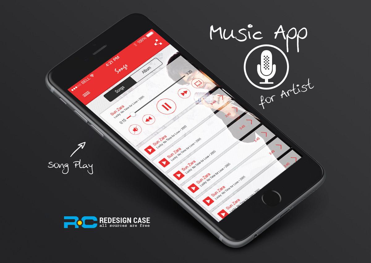 music app mobile ui for iphone 6. Black Bedroom Furniture Sets. Home Design Ideas