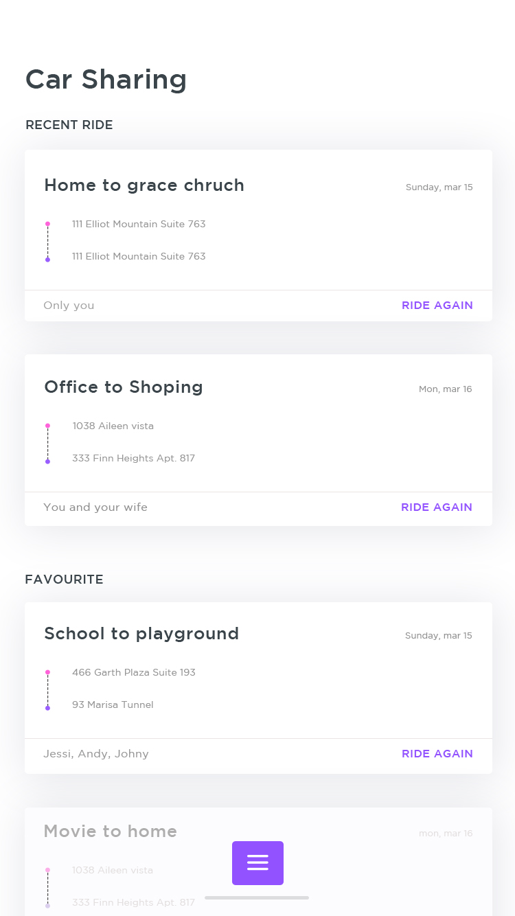 Carpool App Concept Design For Mobile Ui