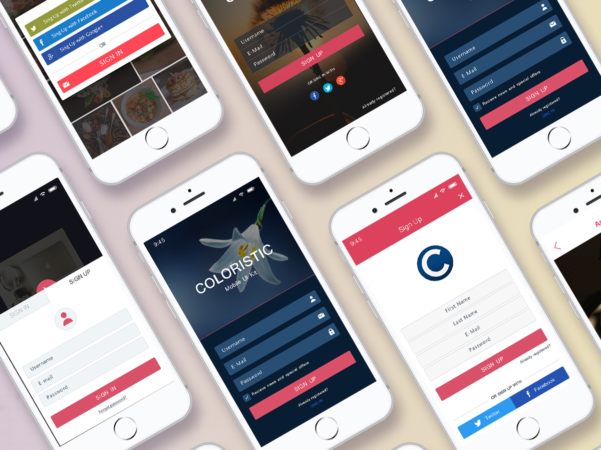 Mobile sign up app ui design psd