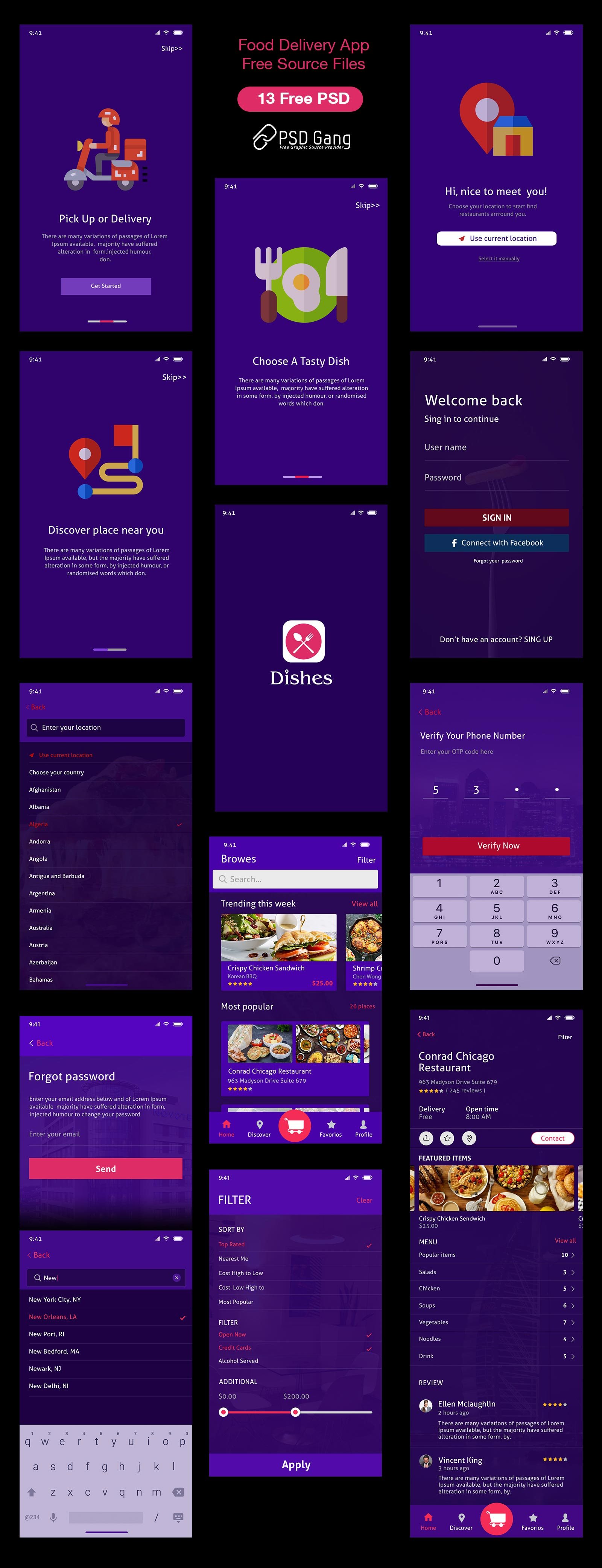 Food delivery near me Mobile UI PSD