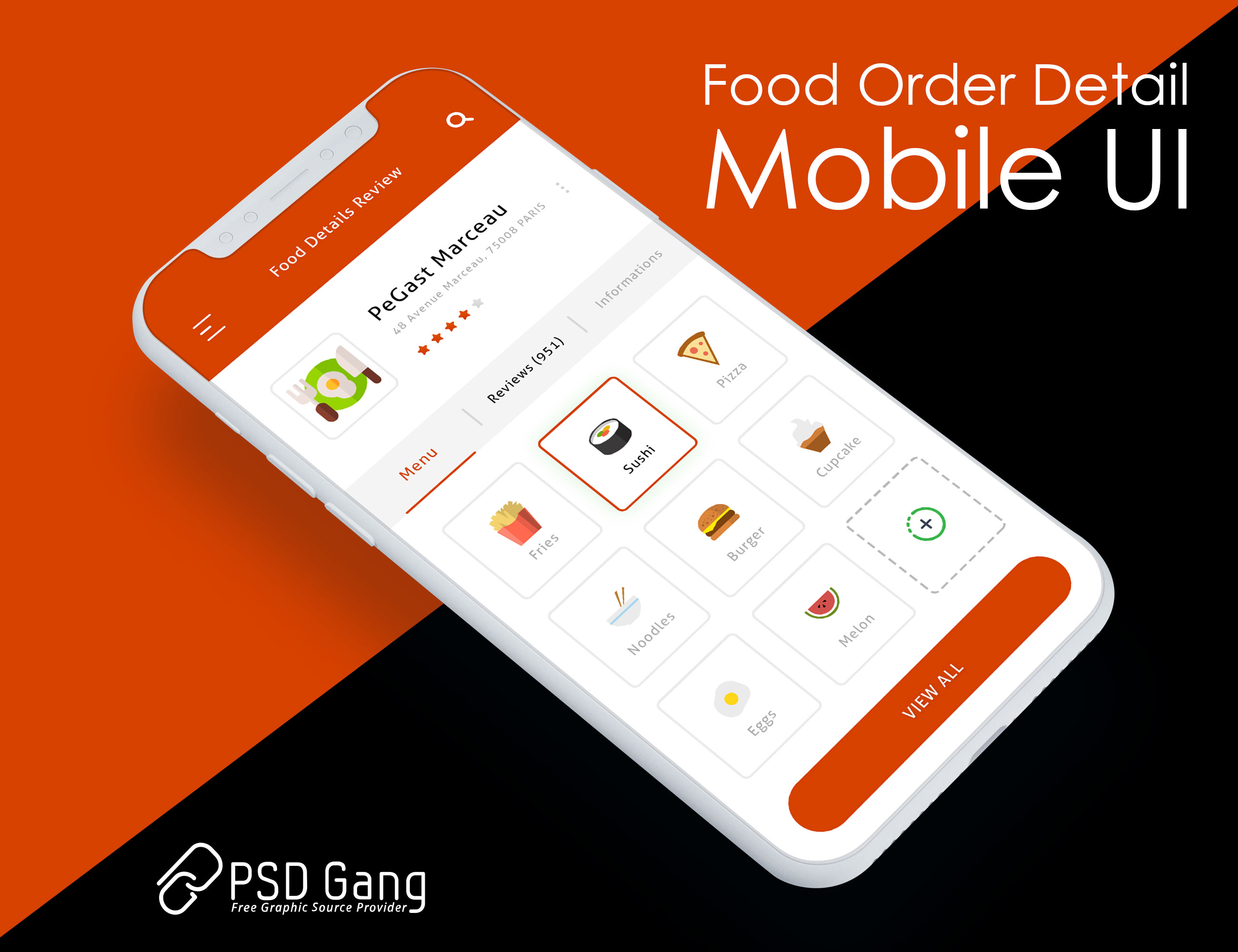 Food delivery app design free PSD