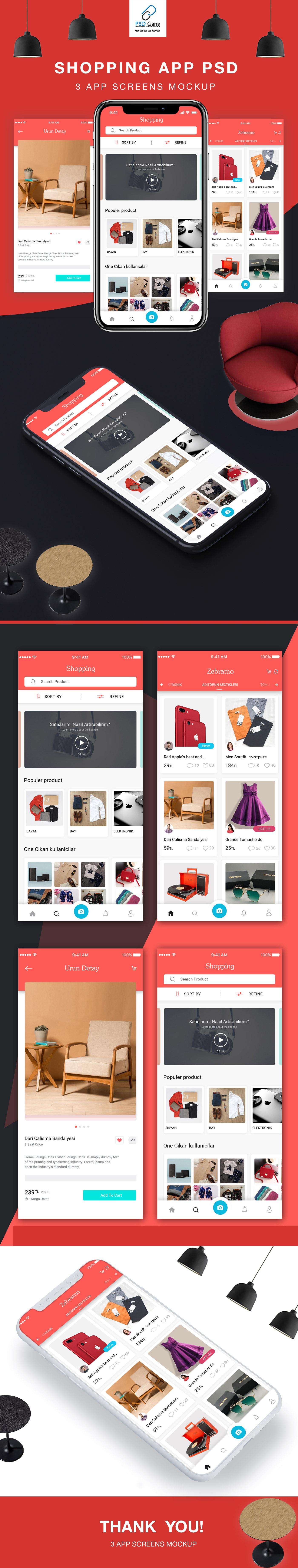 Furniture E-Commerce App PSD