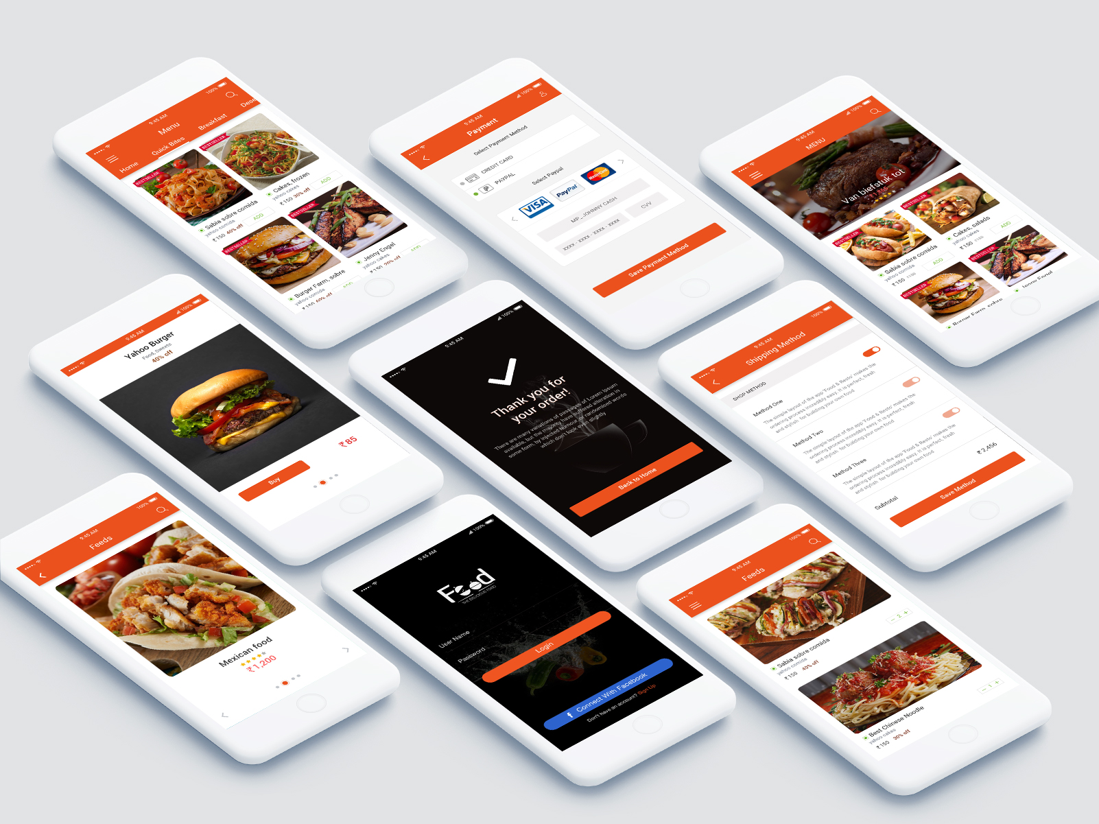 20 Foods Delivery Mobile App UI Kit Free