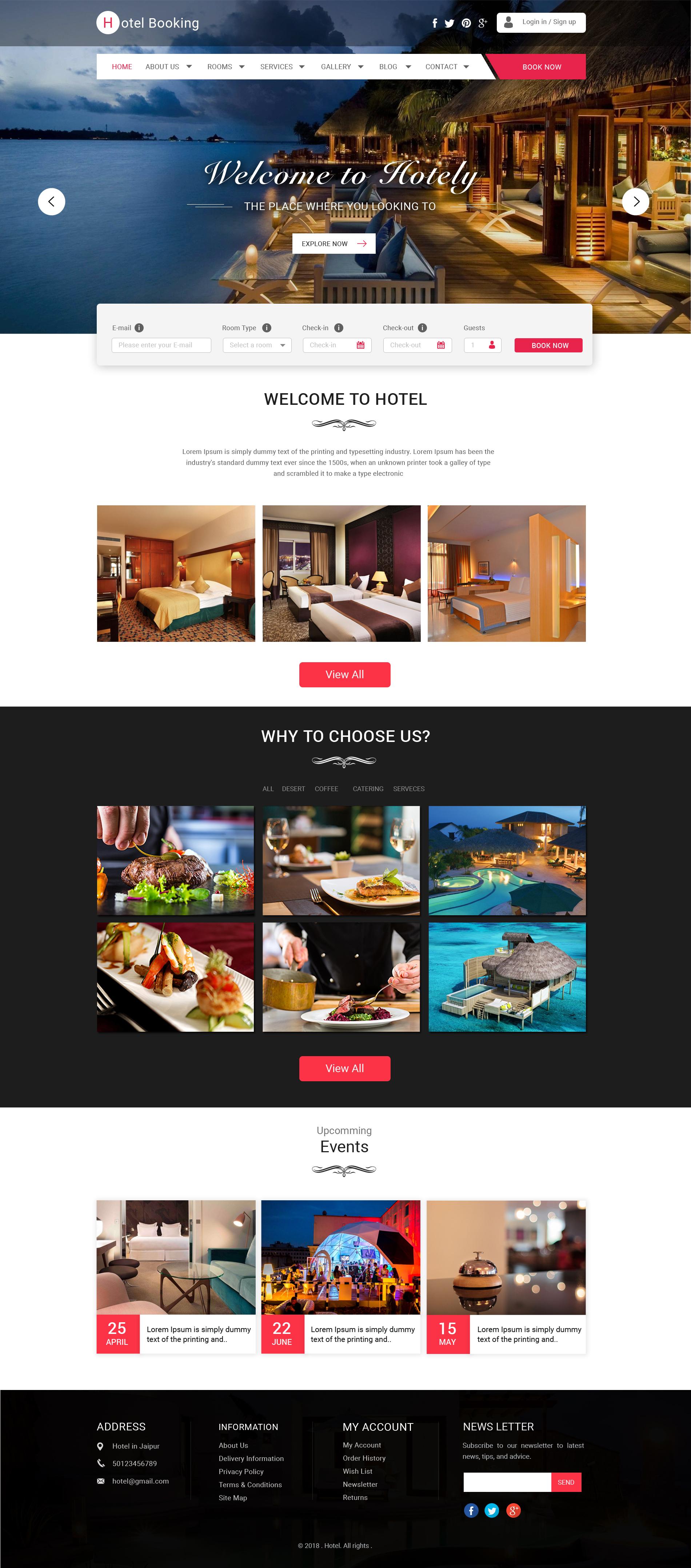 Hotel Reservation Websites Templates