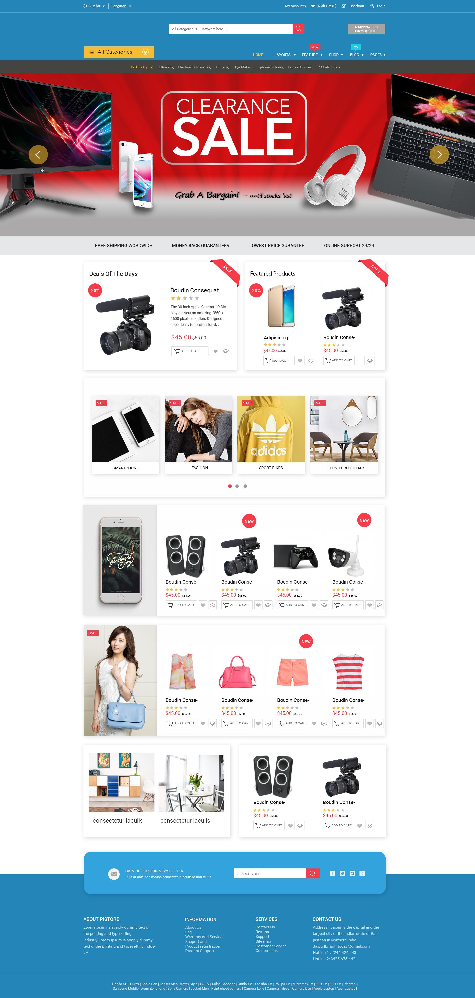 E-commerce  home page design